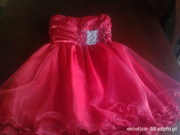 Suknie i sukienki czerwona princeska z cekinami