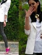 white blazer and shine leggins