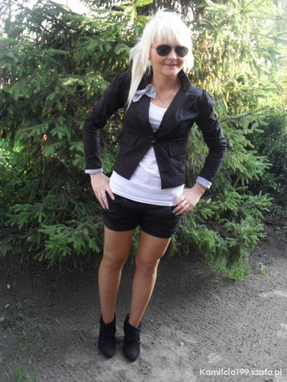 Mój styl Marynarka Spodenki i botki