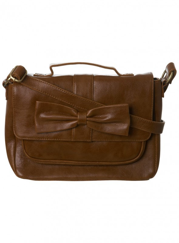 Miss selfridge carmel tan satchel bag bow...