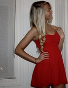 topshop red dress Chiffon Bandeau Dres by Rare