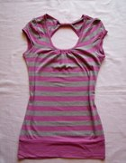 Bluzka w paski różowo szare