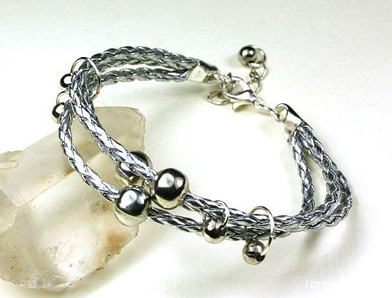 Bransoletki Rzemykowa srebrna bransoletka japan style