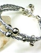 Rzemykowa srebrna bransoletka japan style