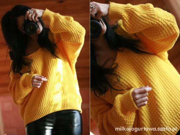 Swetry Sweter OVERSIZE neon ŻÓŁTY musztardowy H&M