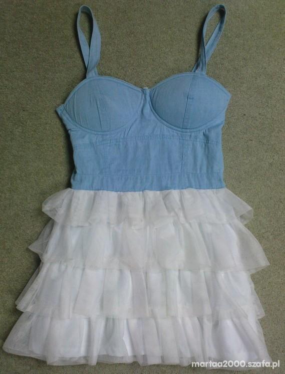 Ubrania niebiesko biala ZARA