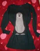 Sweterek tunika z pingwinem