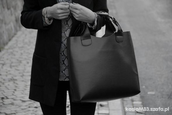 1e7cf84741635 Shopper BAG model ZARA czarna HIT w Torebki na co dzień - Szafa.pl