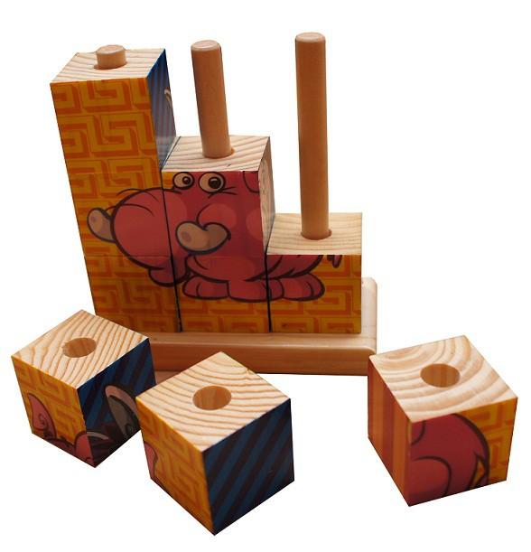 Zabawki Drewniane blokowe puzzle klocki układanka zwierzak