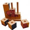 Drewniane blokowe puzzle klocki układanka zwierzak