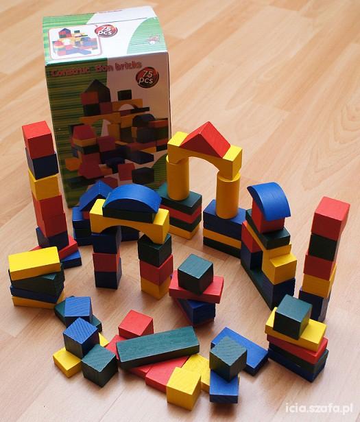 Zabawki Kolorowe drewniane klocki 75 w cenie 50