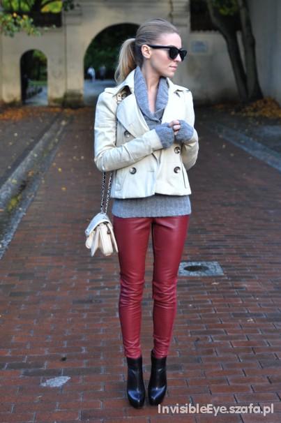 Poszukiwane Bordowe ceglaste skórzane spodnie legginsy TUSK