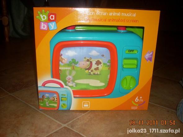 Zabawki pozytywka telewizorek z ruchoma animacja w pudełku