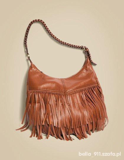 hm frędzlę brąz fringe brown bag