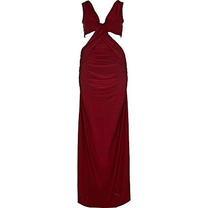 River Island dark red cut out maxi dress...