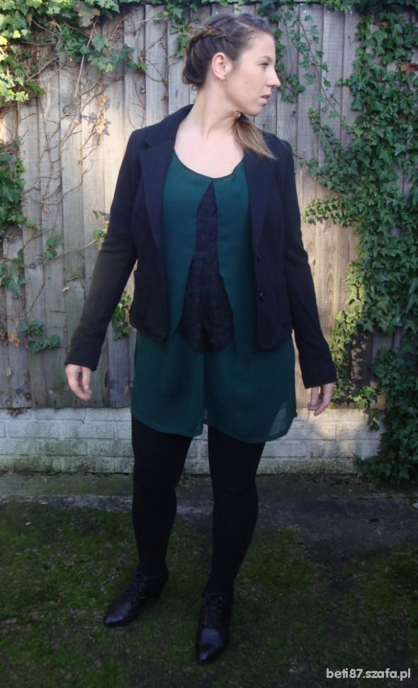Mój styl Sukienka tunika cimna zieleń