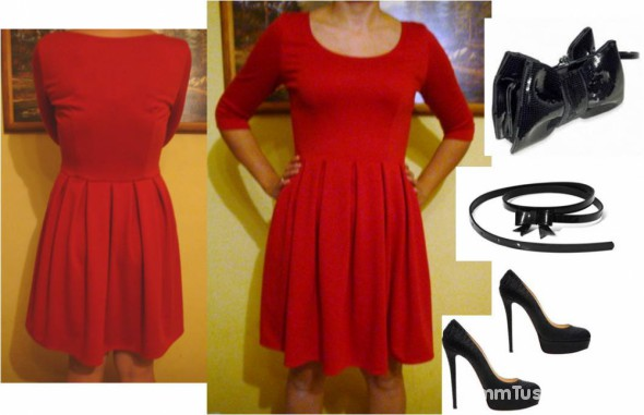 Na specjalne okazje Czerwona rozkloszowana sukienka