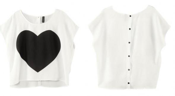 H&M DIVIDED bluzka serce czarne