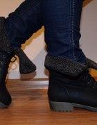 Trapery workersy worker boots czarne wywijane 40