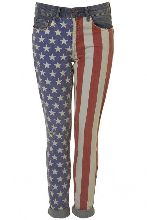 Ubrania legginsy jeansy flaga usa uk