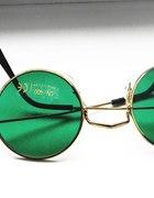 Złote lenonki z zielonymi szkłami