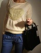 Spodnie rurki bluzeczka serduszko torebka
