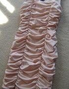 Pudrowa marszczona sukienka H&M