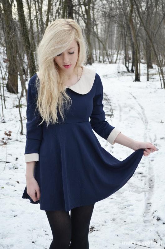 Eleganckie white collar dress