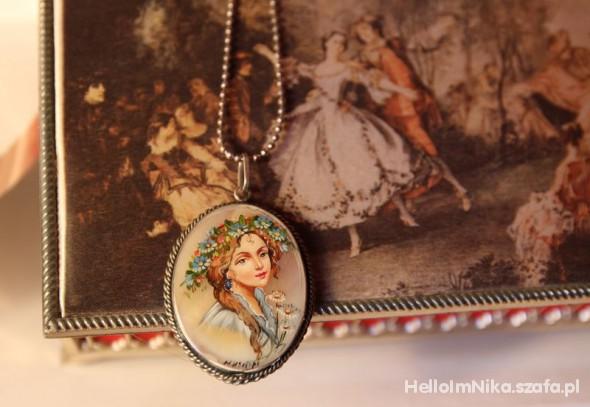 Naszyjniki Naszyjnik medalion folk ludowy retro kobieta