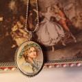 Naszyjnik medalion folk ludowy retro kobieta