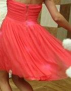 koralowa łososiowa sukienka