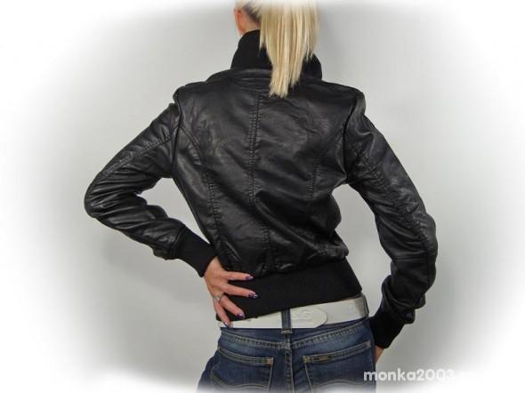 kurtka skórzana ze ściągaczami damska