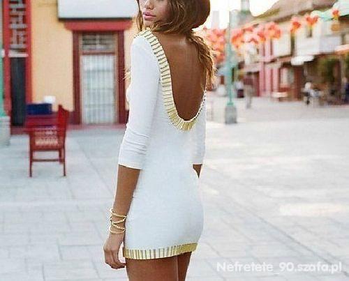 Imprezowe Sexowna biała sukienka