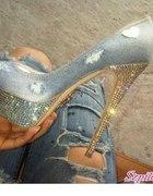 Swarowski platformy jeansowe
