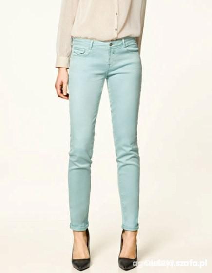 miętowe spodnie L