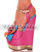Różowe Sandałki paltforma koturn...
