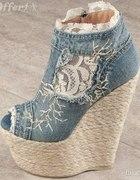 Jeansowe koturny
