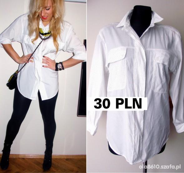 KOSZULA oversize LINDEX biała w kropki WIOSNA w Koszule  H0YGd