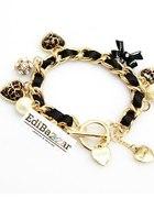 Złota Chanelka Bransoletka Panterka charms Czarna