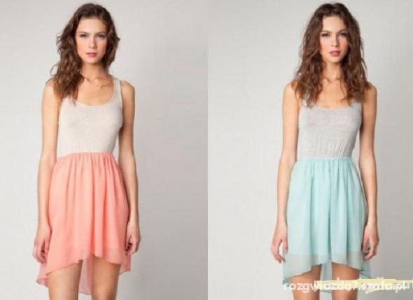 58c6f876f9 Bershka zwiewna sukienka miętowa i koralowa w Suknie i sukienki ...