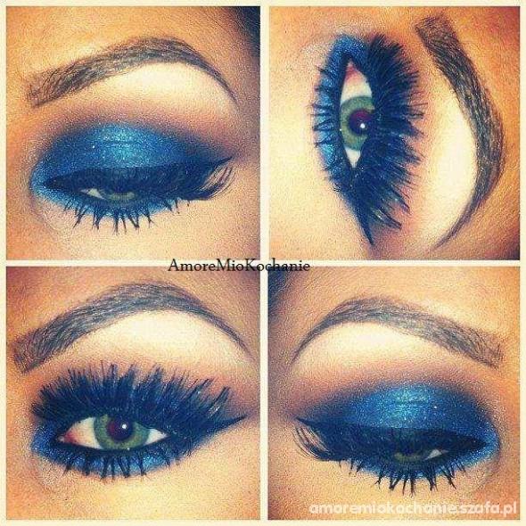 makijaż kobaltowy okazyjny bardzo mocny