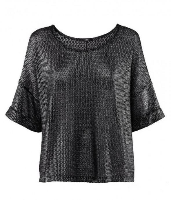 Czarny Sweter bluzka oversize metaliczna h&m...
