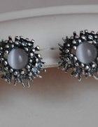 Srebrne kolczyki z kocim oczkiem