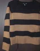 sweter H&M oversize pasiak camel 34