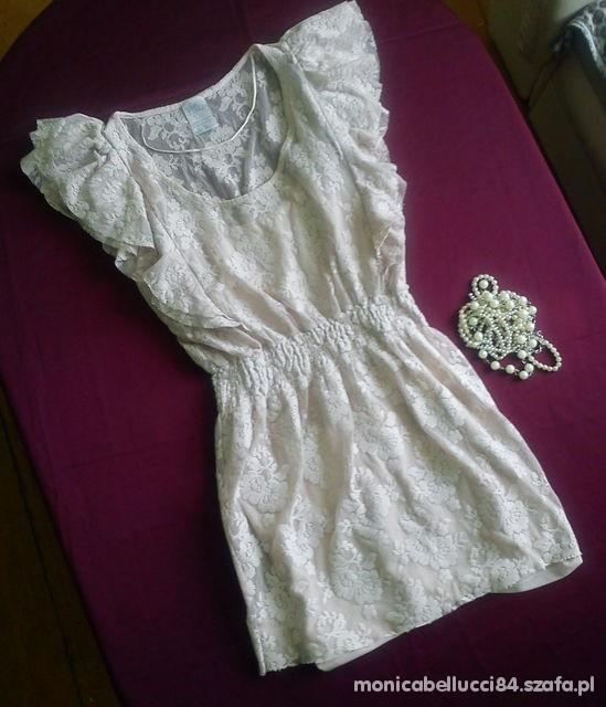 sukienka koronkowa beżowa nude zara w Suknie i sukienki