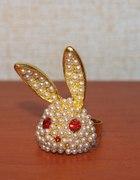 pierścionek króliczek brylanciki japan style...