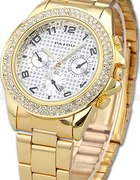 Złoty zegarek z cyrkoniami na bransolecie