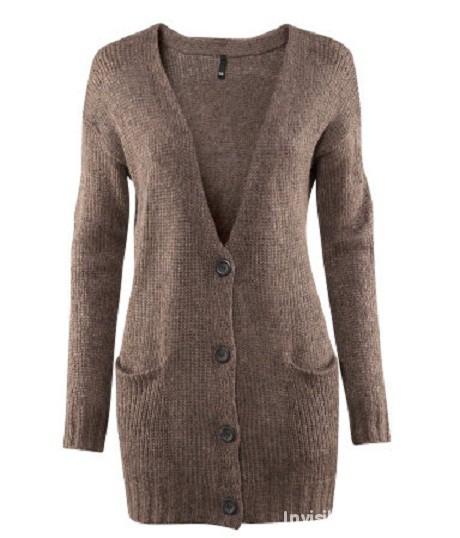Gruby brązowy wełniany sweter kardigan łaty H&M...