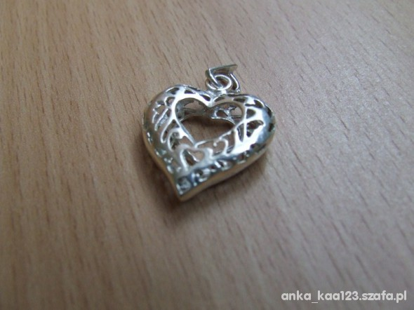 3633b70d423b56 Zawieszka ażurowe serce srebro pr 925 DUŻE w Zawieszki - Szafa.pl