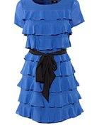 Kobaltowa sukienka falbanki z kokardą 40...